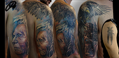 cover-up, indian , eagle, totem , arm